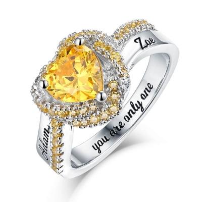 Bague Amour éternel pierres de naissance -Argent S925
