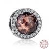 Charm perle cristal ronde en couleurs - Argent S925