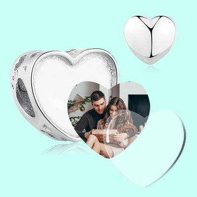 Charm cœur personnalisable photo et gravure - Argent S925