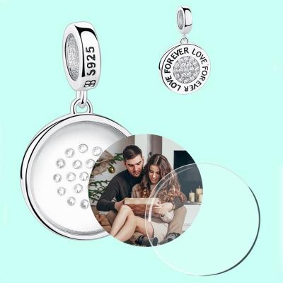 Charm pendentif love for ever personnalisé avec photo - Argent S925