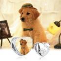 Charm Coeur avec trace de patte et os photo personnalisée - Argent 925