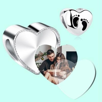 Charm photo Cœur avec empreintes de pieds de bébé - Argent S925