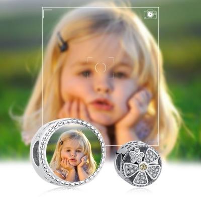 Charm photo fleur marguerite - Argent S925