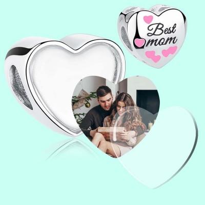 Charm cœur photo meilleure maman - Argent S925