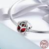 Charm rose perle en cristal rouge - Argent S925