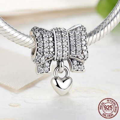 Charm nœud papillon petit cœur - Argent S925