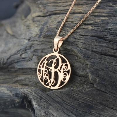 Collier monogramme cercle personnalisé