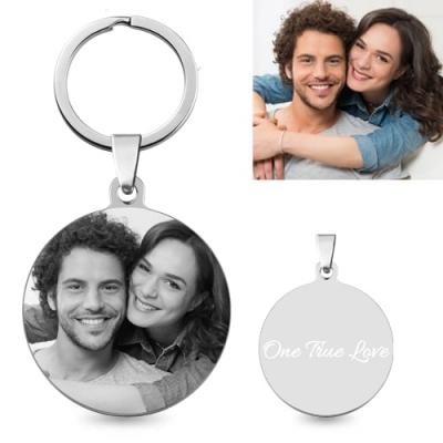 Porte-clés rond photo et gravure - Acier Titane