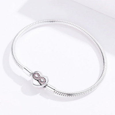 Bracelet à Charms fermoir cœur avec infini Argent 925