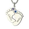 Collier pieds de bébé avec 2 prénoms et pierres de naissance