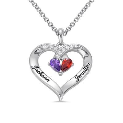 Collier couple cœur avec prénoms et pierres de naissance