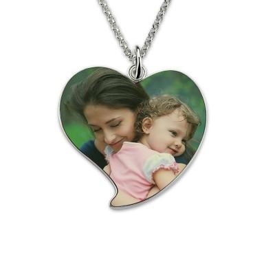 Collier cœur photo couleur personnalisée- Argent 925
